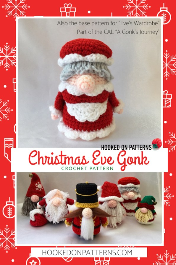 Christmas Eve Gonk Crochet Pattern by Hooked On Patterns Pin Image