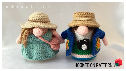 Tourist Gonks Crochet Pattern image of Adam and Eve Gonk crochet dolls holding hands