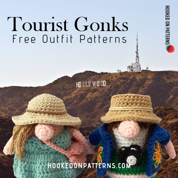 Tourist Gonks Crochet Pattern Image showing Adam and Eve Gonk in front of the Hollywood sign
