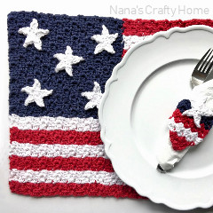 American Flag Placemat & Napkin Ring Crochet Pattern