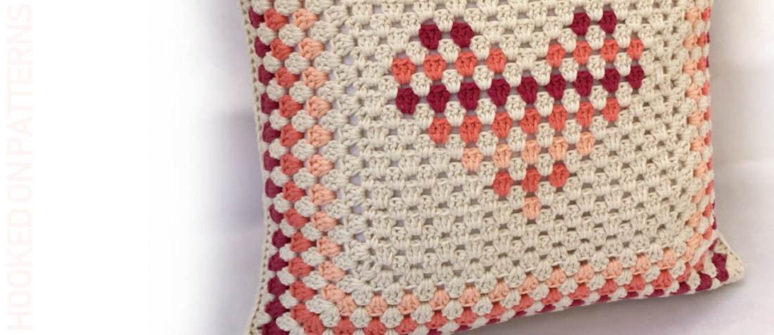 Free Granny Stripe Heart Cushion Cover Crochet Pattern Featured Image