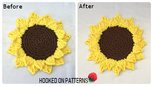 Before and After Blocking Images of the Sunflower Coasters