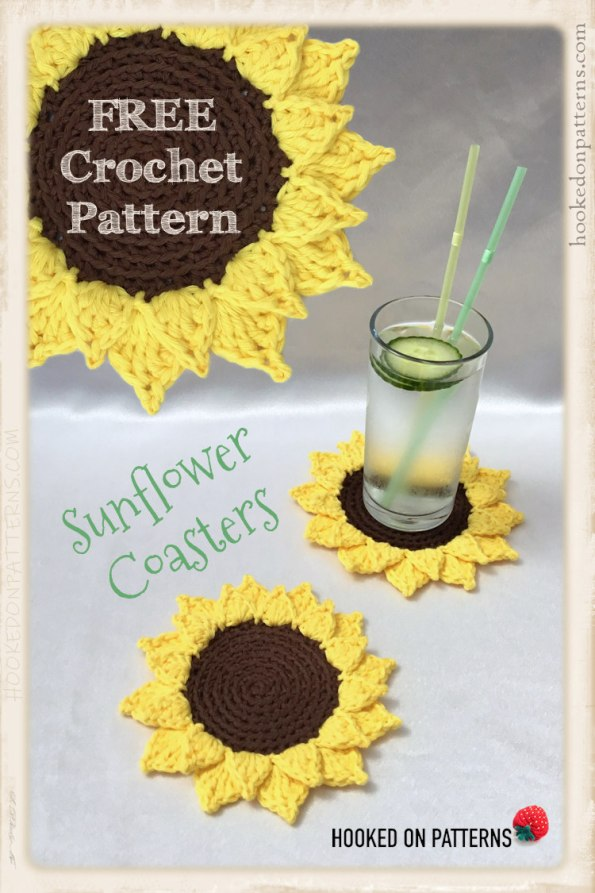 Free Sunflower Coasters Crochet Pattern Pinterest Graphic