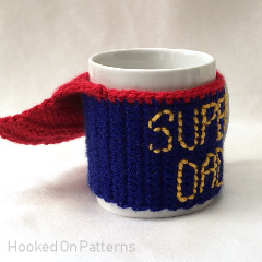 Fathers Day Super Dad Mug Cosy Free Crochet Pattern