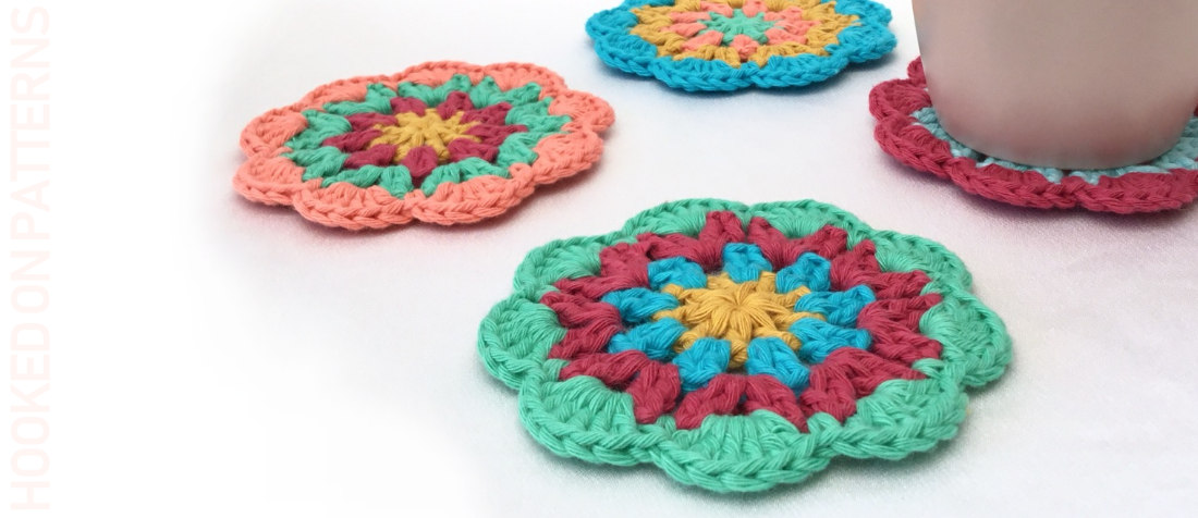 Free Happy Scrappy Coasters Crochet Pattern