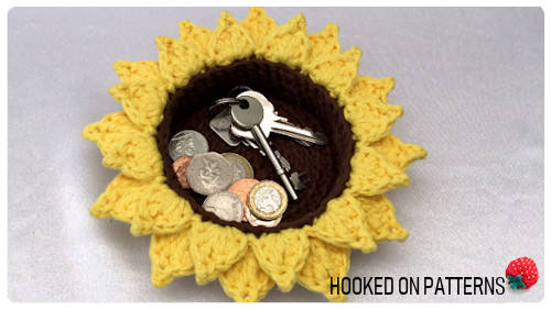 Free Sunflower Trinket Basket Crochet Pattern