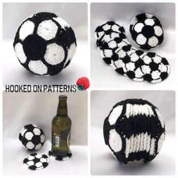 Soccer Football Coaster Set Crochet Pattern