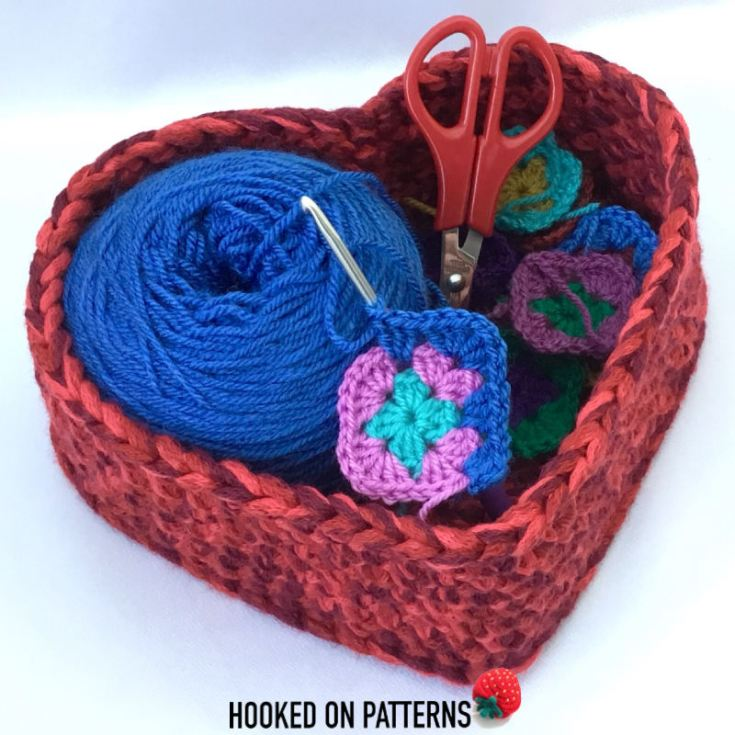 Free Crochet Heart Basket Pattern