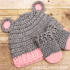 Baby Bear Hat and Mittens Free Crochet Pattern
