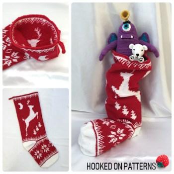 Leaping Reindeer Christmas Stocking Crochet Pattern