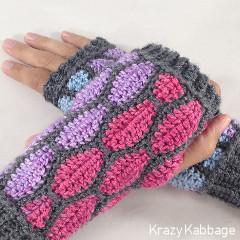 Stained Glass Fingerless Gloves Free Crochet Pattern