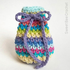 Simply Striped Drawstring Pouch Free Crochet Pattern