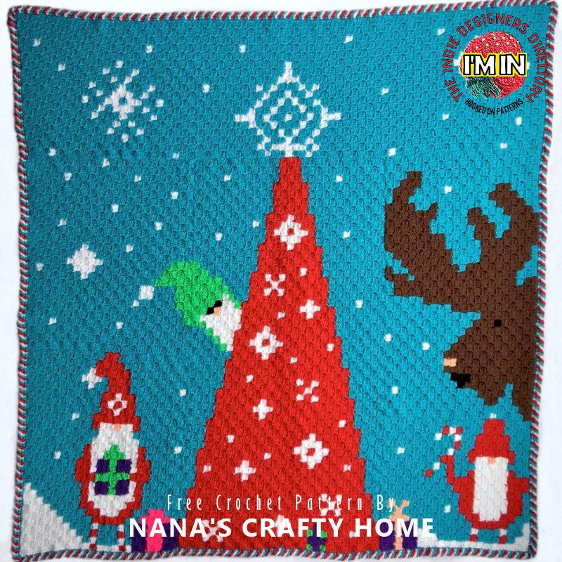 Free Christmas Blanket C2C Crochet Pattern