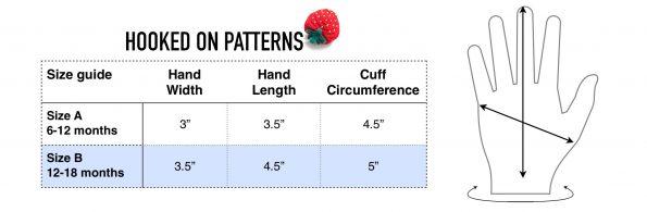Free Baby Mittens Crochet Pattern Size Chart