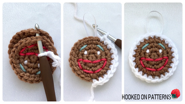 Free Gingerbread Smilies Christmas Ornament Crochet Pattern - Join Circles