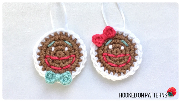 Free Gingerbread Smilies Christmas Ornament Crochet Pattern - Mr and Mrs