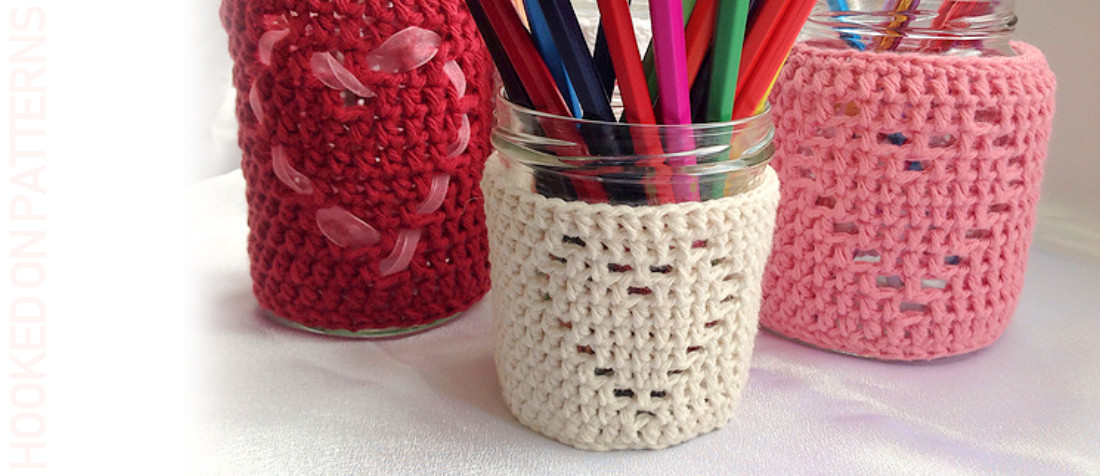 Heart Jar Cozy Free Crochet Pattern Featured Image