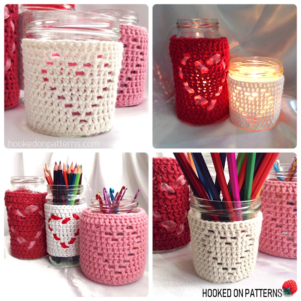 Heart Jar Cozy Free Crochet Pattern