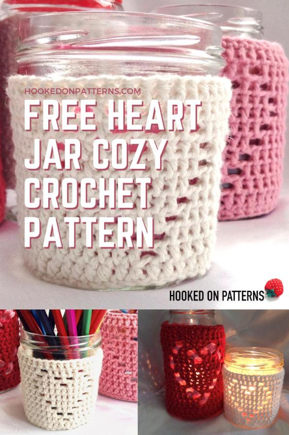 Heart Jar Cozy Free Crochet Pattern Pin