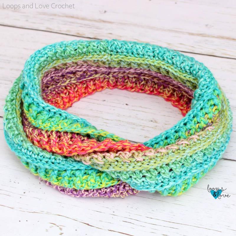 Criss Cross Ridges Infinity Scarf Free Crochet Pattern