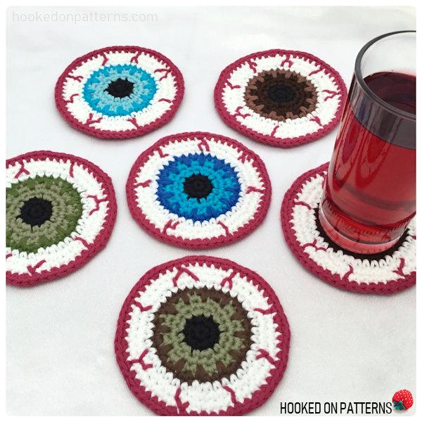 Free Eyeball Coasters Crochet Pattern