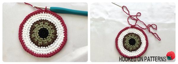 Free Eyeball Coasters Crochet Pattern Round 10