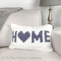 Home Is Where the Heart Is Pillow Cover Free Crochet Pattern