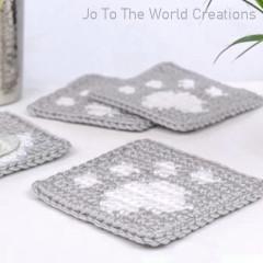 Paw Print Coasters Free Crochet Pattern