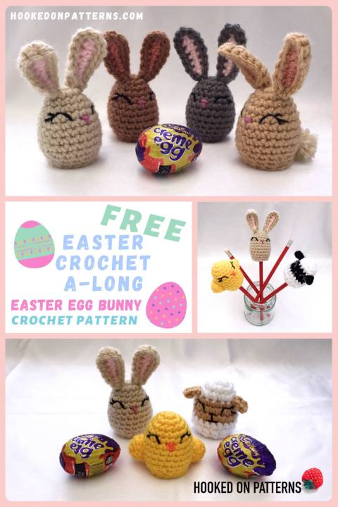 """A Pinterest Pin image showing 4 crochet bunnies with a Creme Egg and examples of the other animals in the Easter CAL set with the words """"Free Easter Crochet A-long Easter Egg Bunny Crochet Pattern"""""""