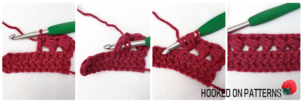A 4 part instructional photo tutorial showing how to crochet the Bead Stitch