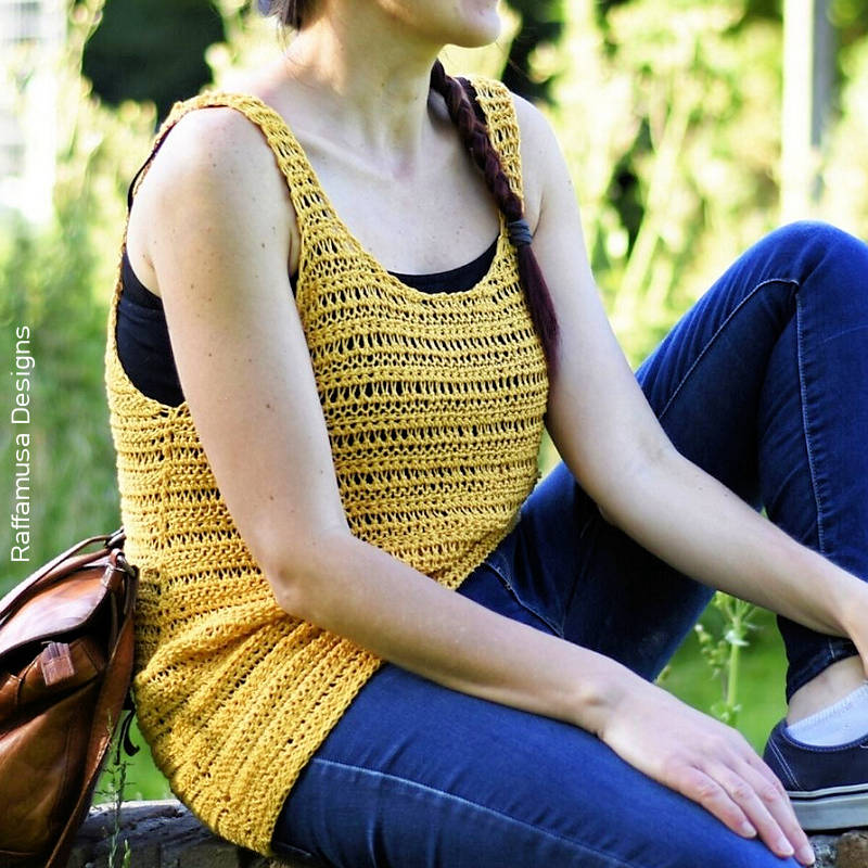 An image of a loose knit style Tunisian crocheted vest top