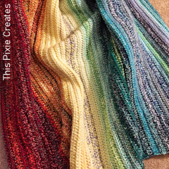 Thumbnail image of the Easy Weighted Rainbow Blanket free crochet pattern