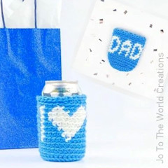 A thumbnail photo of the I Heart Dad Can Cozy free crochet pattern