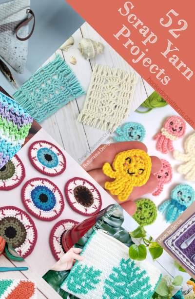 A multiple image Pin showing different scrap yarn crochet pattern ideas