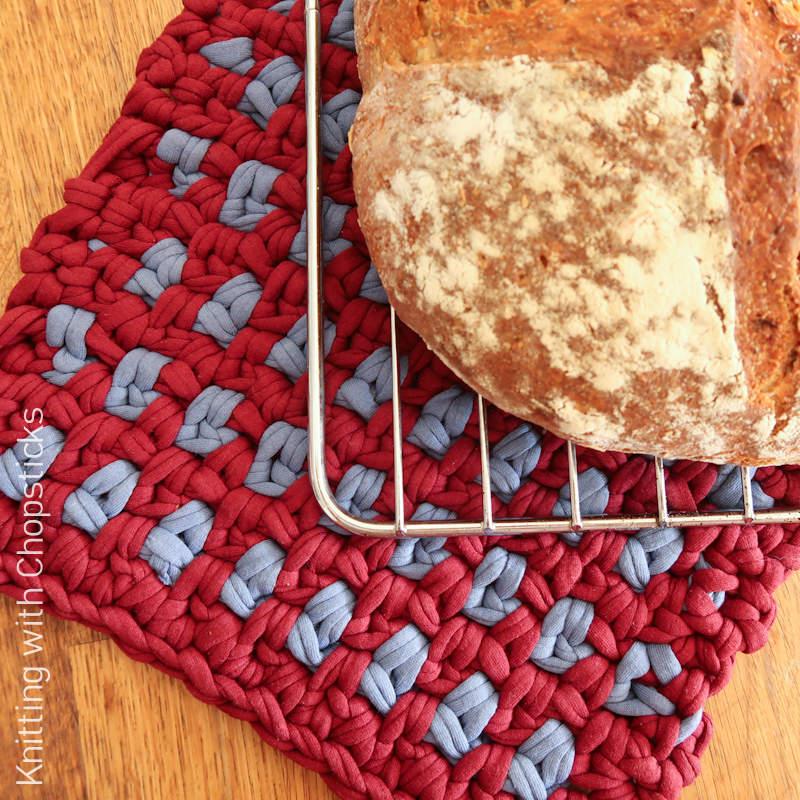 A scrap yarn project - A photo of the Linen Potholder free crochet pattern