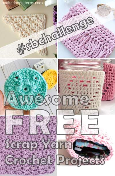 A collage of various pastel coloured crochet projects as examples of what can be made from scrap yarn