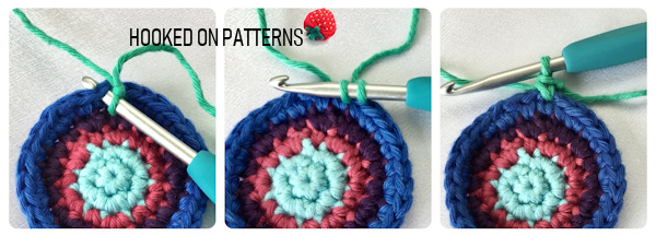 An instructional image showing how to join yarn with a single crochet