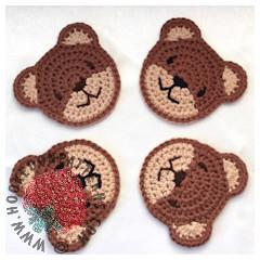 A thumbnail image of the Teddy Bear Coasters crochet pattern