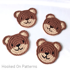 Thumbnail image of the Teddy Bear Coasters free crochet pattern