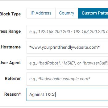 A screenshot of an example website url for blocking print friendly websites