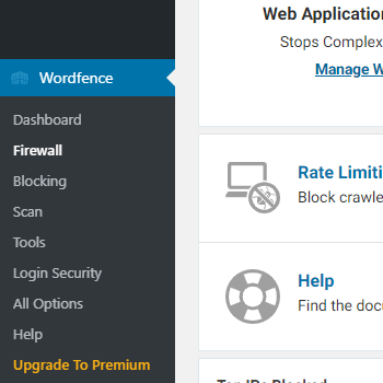 A screenshot of the Wordfence Firewall option for blocking print friendly websites
