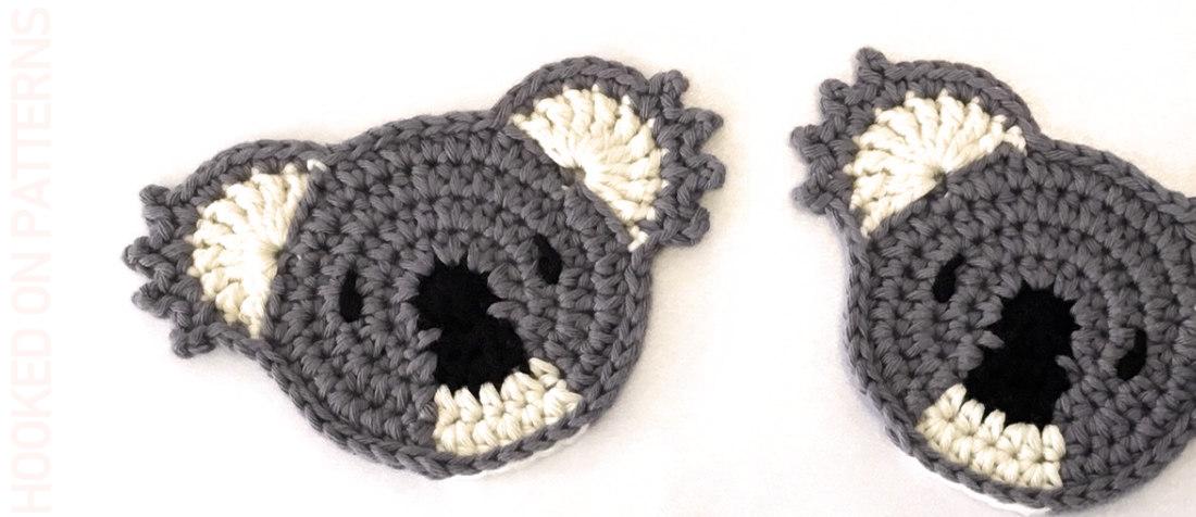 A close up photo of 2 crocheted koala coasters