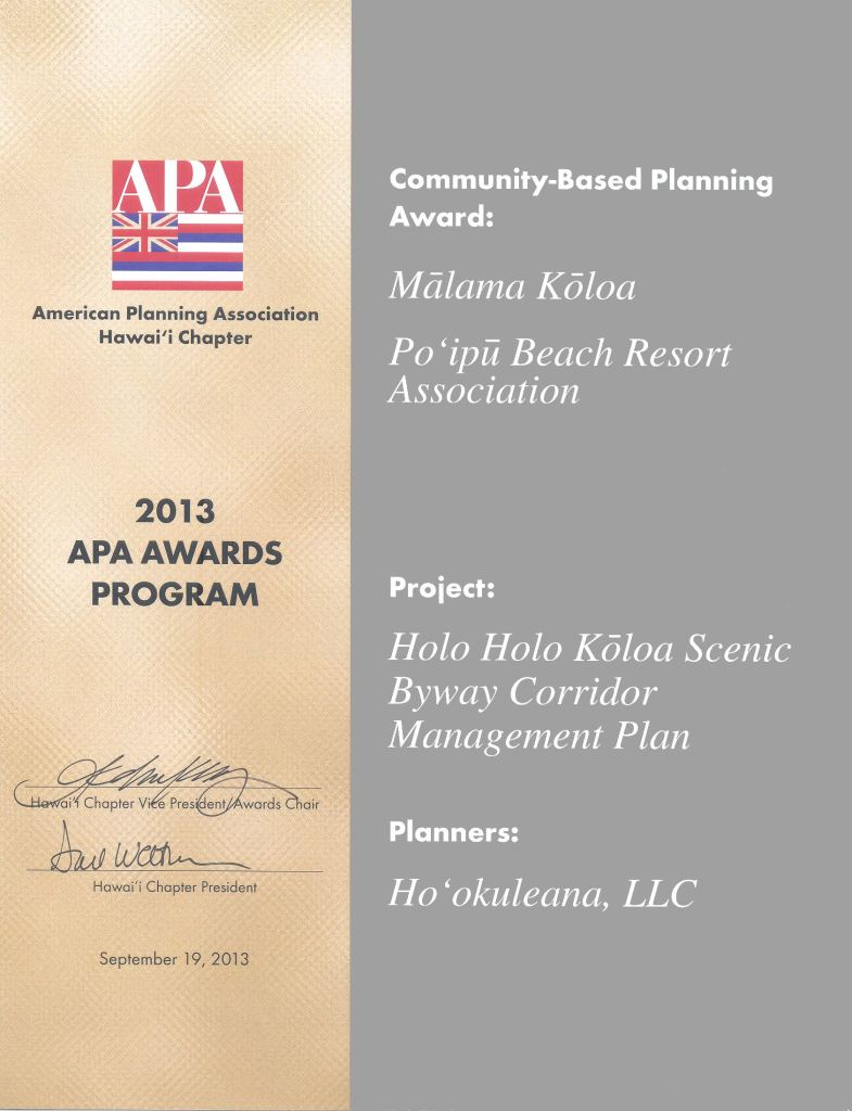 Holo Holo Koloa Scenic Byway-Community-Based Planning Award 2013