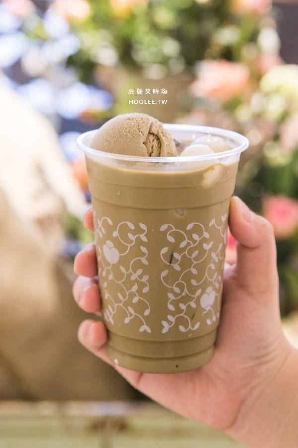 漢神巨蛋 nana's green tea 自由之丘抹茶甜點店 焙茶白玉漂浮拿鐵 NT$190