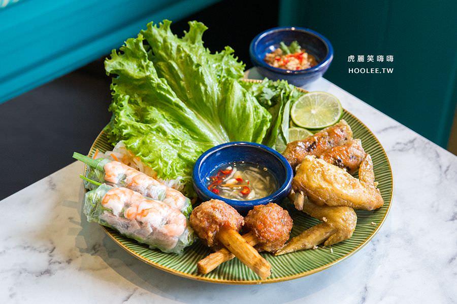 小越廚創意越式料理 高雄 特色拼盤 NT$300 生春捲x2、炸春捲x2、甘蔗蝦x2、香茅雞翅x2