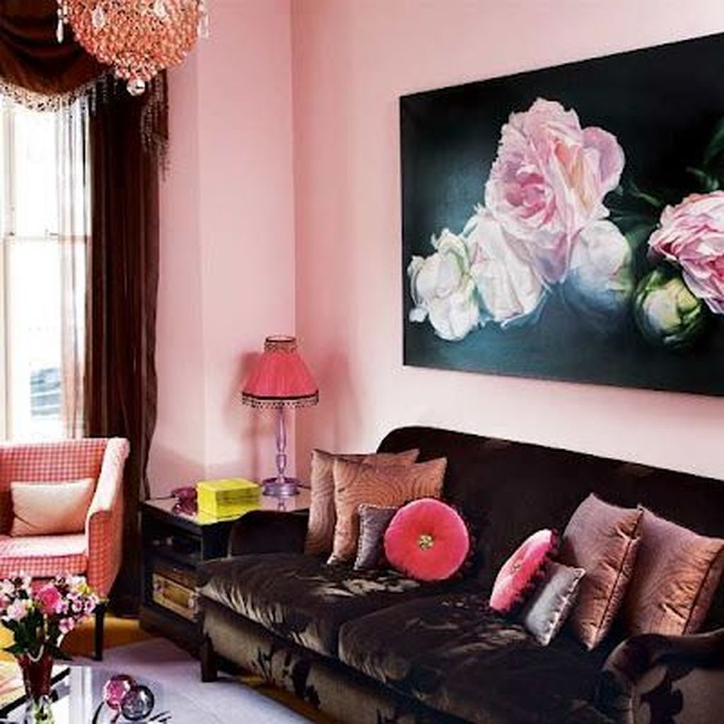 Beautiful Pink Living Room Decor Ideas 12