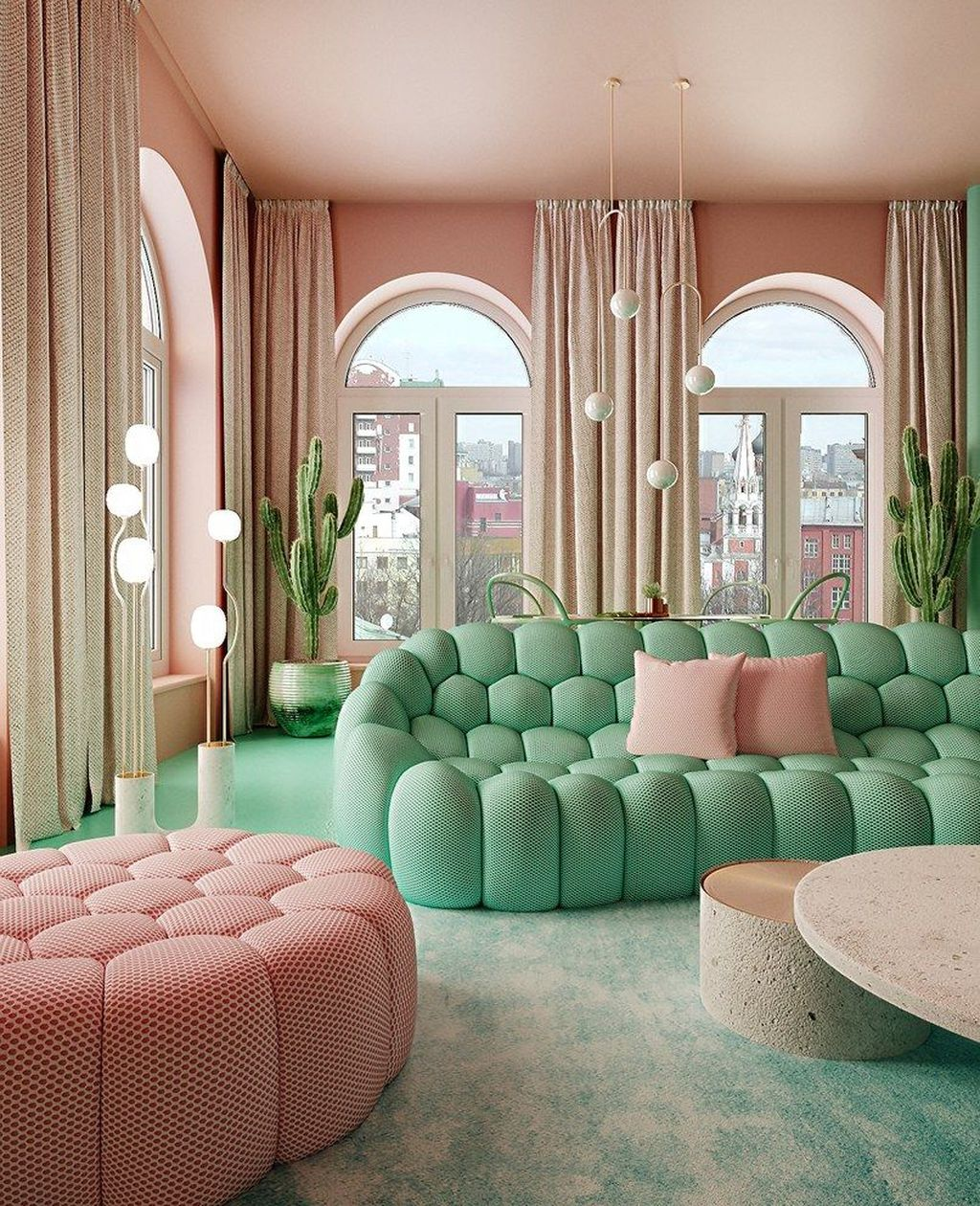 Beautiful Pink Living Room Decor Ideas 13