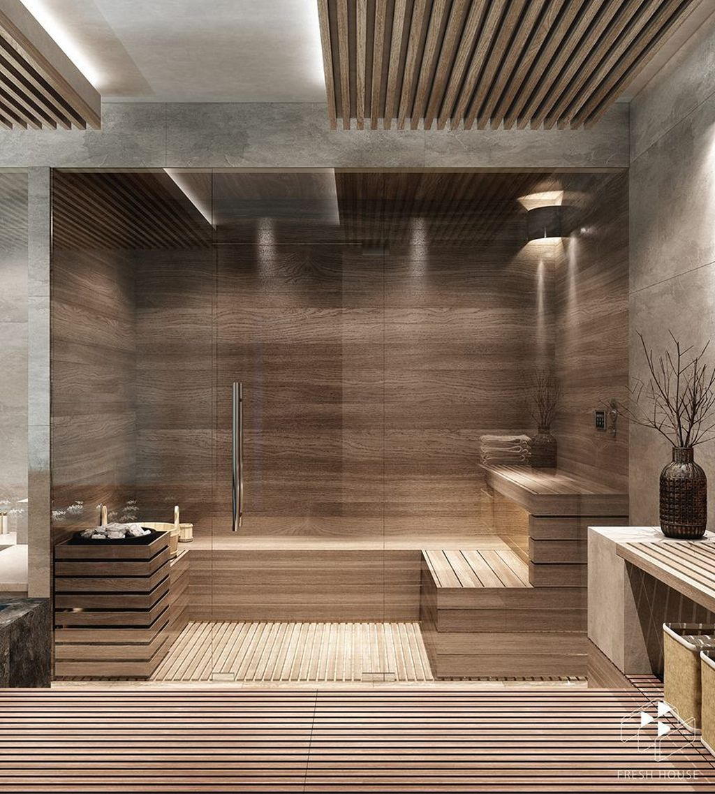 Beautiful Sauna Design Ideas For Your Bathroom 21