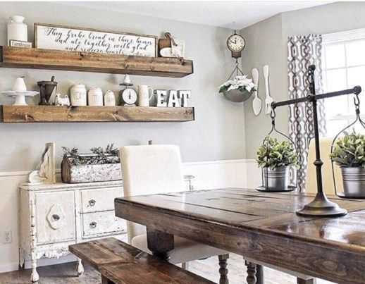 Popular Rustic Farmhouse Style Ideas For Dining Room Decor 12