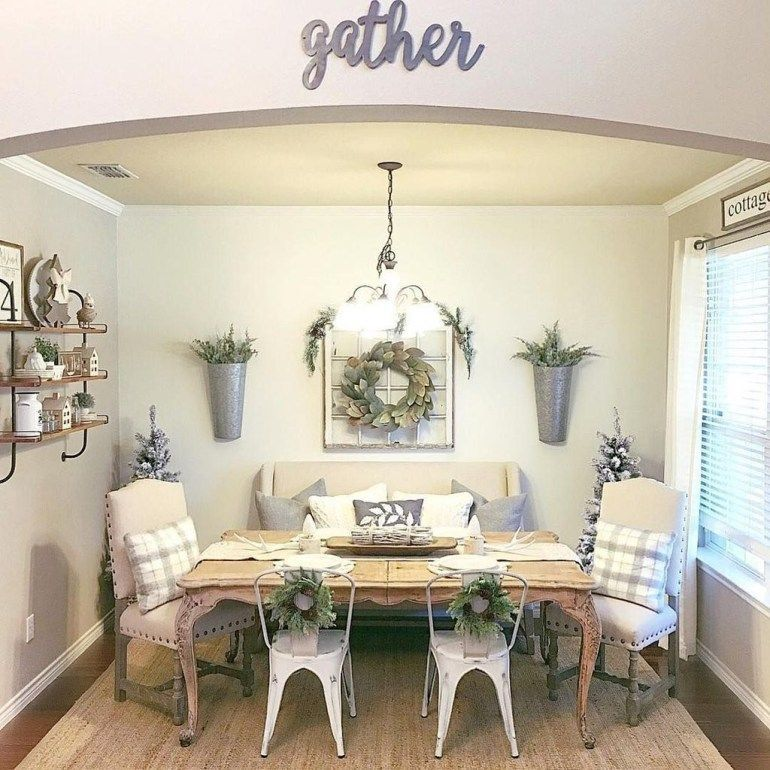 Popular Rustic Farmhouse Style Ideas For Dining Room Decor 14